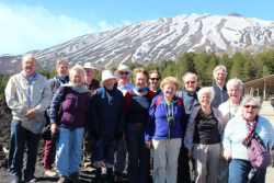 One of groups with Mt Etna in the background